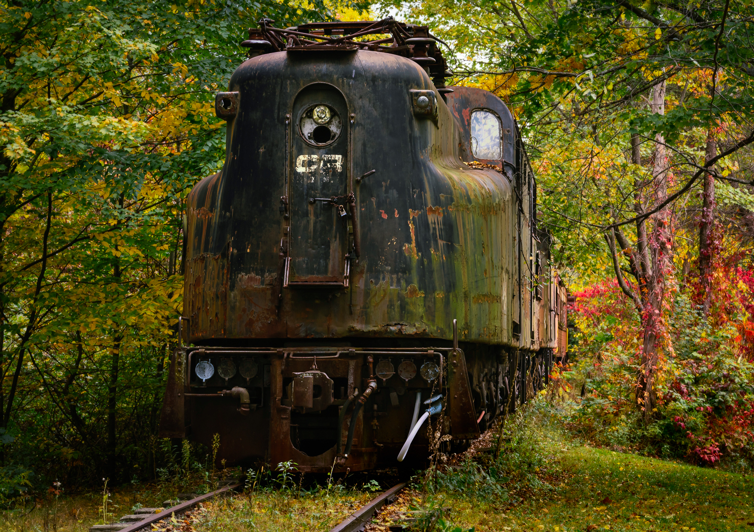 Abandoned train sits on a New York track.