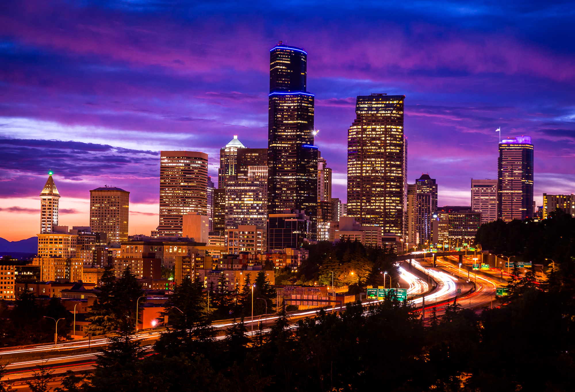 Downtown Seattle at sunset